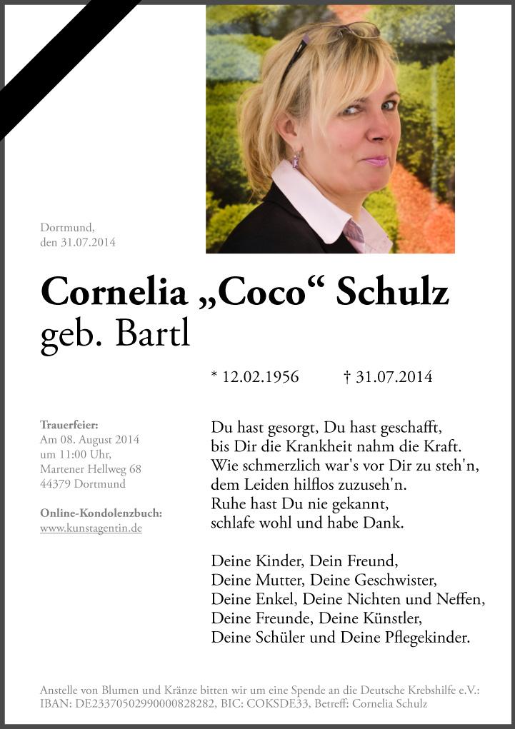 Traueranzeige Cornelia Bartl Schulz